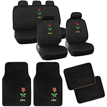 13pc BDK Love Rose Combo Auto Interior Gift Set Seat Covers And Matching Carpet Floor