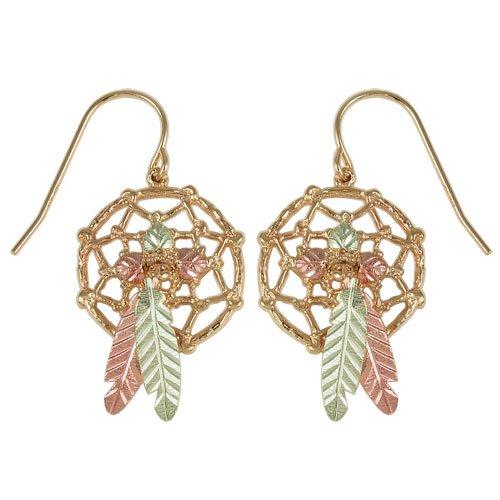 Black Hills Gold Dreamcatcher Earrings in 10k Gold from Coleman. Shepherd Hooks back. Matching Pendant Available.