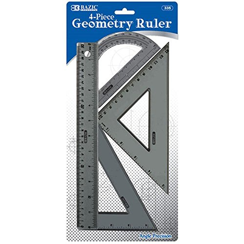 Bulk Buys BAZIC Geometry Ruler Combination Sets - 4-Pack - Case of 144 by Bazic