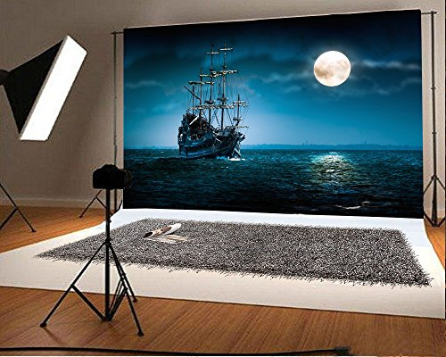 Laeacco Vinyl 6.5x5ft Photography Background Pirate Ship Flying Dutchman Moonlight Night Scary Lonely Sailboat on the Sea Landscape Backdrop Art Photo Portraits Shooting Video Studio Prop