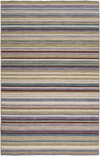 Diva At Home 2' x 3' Stratum Wine, Violet and Tan Striped Hand Woven Wool Area Throw Rug