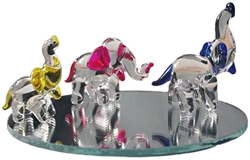 Flame Art Glass Hand Blown Glass Elephant Family Figurines with Beveled Display Mirror, Colored - Murano Wall Sculpture