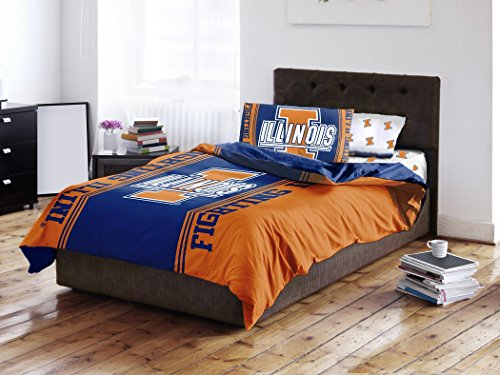 NCAA Illinois Fighting Illini 5 Piece Queen Size Bed in a Bag Comforter and Sheet set