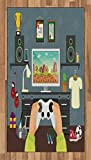 Lunarable Gamer Area Rug, Gaming Guy in His Flat with Diplomas Loud Speakers Boxing Gloves Jump Rope and Trophy, Flat Woven Accent Rug for Living Room Bedroom Dining Room, 2.6 x 5 FT, Multicolor
