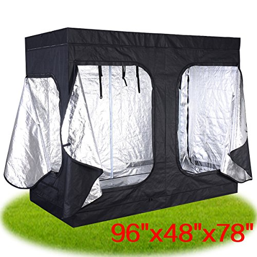 JAXPETY 96″x48″x78″ Indoor Grow Tent Room Reflective Mylar Hydroponic Non Toxic Hut New Review