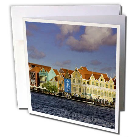 Note Antilles Netherlands (3dRose Danita Delimont - Cities - Dutch architecture lines the wharf at Willemstad, Curacao, West Indies - 1 Greeting Card with envelope (gc_257403_5))
