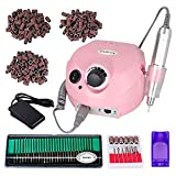 pink drill for nails - 30000rpm Pro Electric Nail Drill Machine Pedicure Manicure Kits File Drill Bits Sanding Band Accessory Nail Salon Nail Art Tools (Pink)