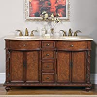 Silkroad Exclusive Countertop Travertine Dual Sink Bathroom Vanity with Double Cabinet, 60-Inch