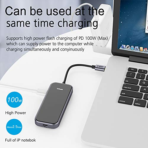 USB C HUB Adapter, QGeeM 5-in-1 USB C Dongle with 4K USB C to HDMI, 2 USB 3.0, 1 USB C to USB 3.0, USB-C 100W PD Charger Compatible with MacBook Pro 2019/2018 IPad Pro, Chromebook, XPS,Type-C Adapter