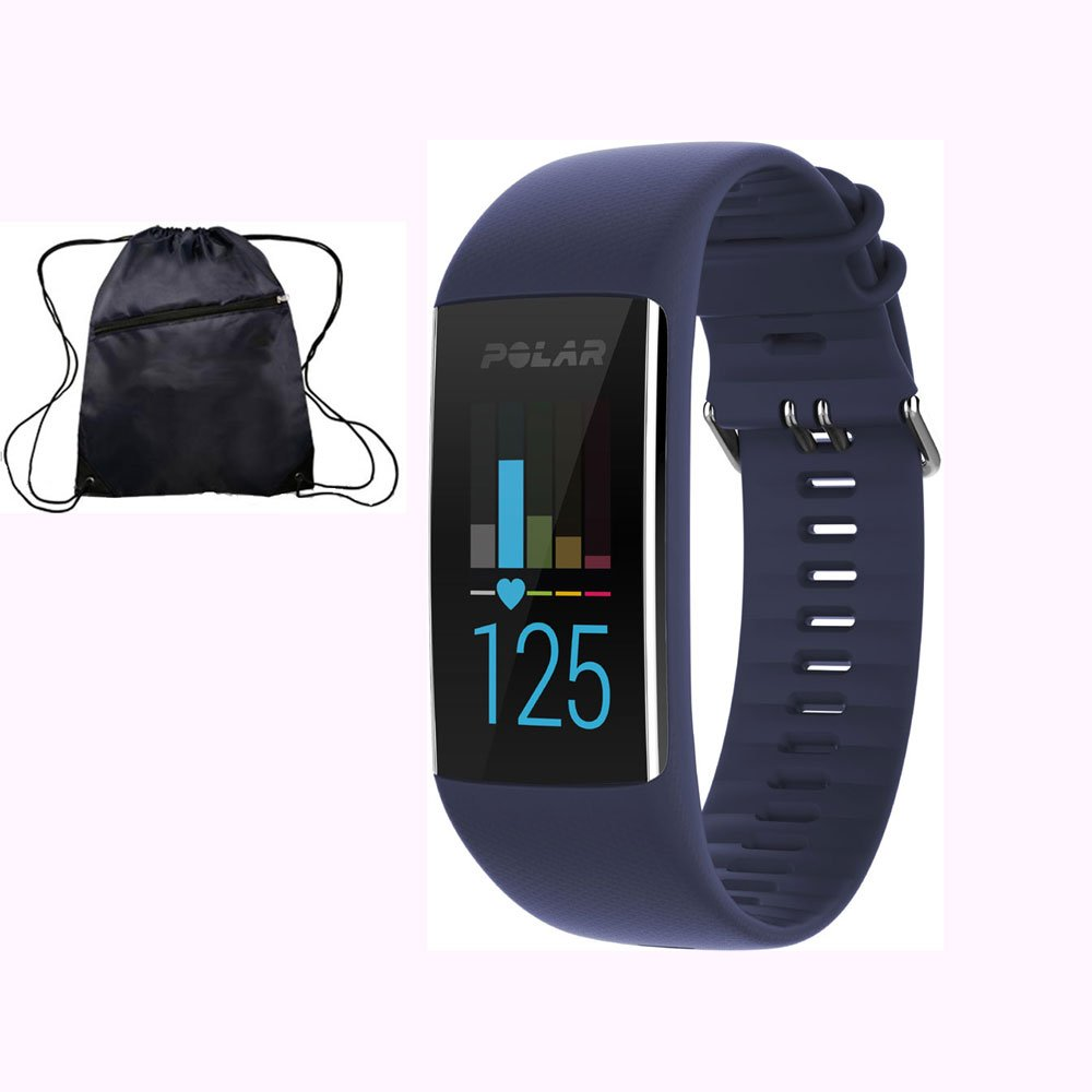 Polar A370 Waterproof GPS Fitness Tracker with Wrist Based HR - Deep Blue / Medium-Large w/ Cinch Travel Bag by Polar
