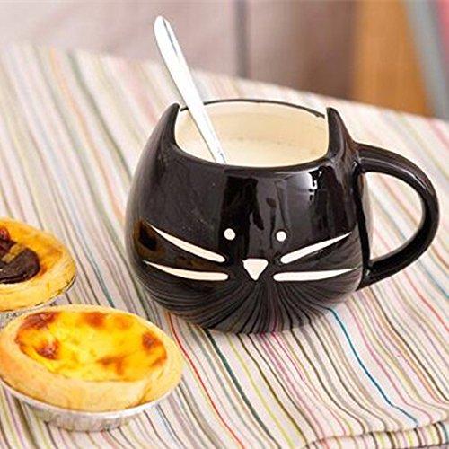 Bluelover Kreative Keramik Katze Tier Kaffeetasse Becher Wasser Milch Tasse Paare Liebhaber Tasse - schwarz