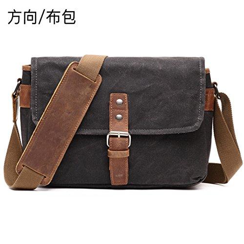 20cm retro de cámara casual bolsa loco dirección 29cm Bolso aceitoso bolso con Casual caballo bolsa tela negro cera impermeable 10cm 4gU1qn