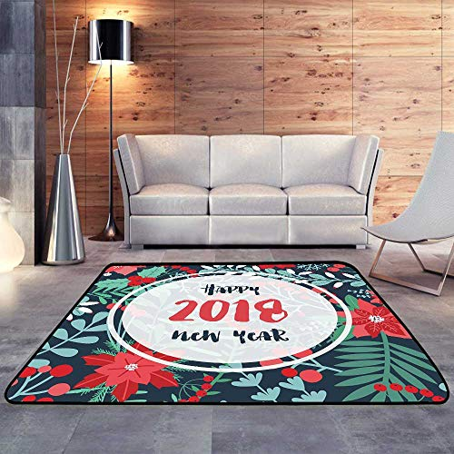 American Floor mats, Elegant Holly Leaves Berries and Other Green and red Holiday Plants.W 71