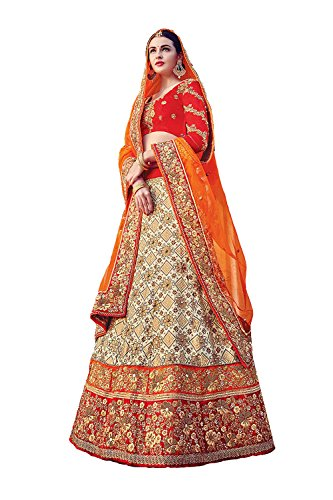 IWS Womens Beige Striking Lehenga Choli With Embroidery Work 79639