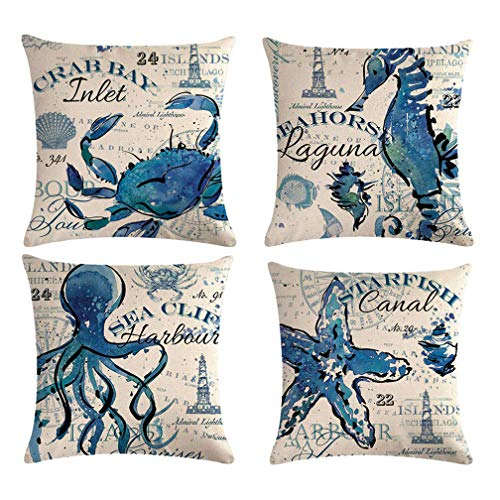 ULOVE LOVE YOURSELF Sea Throw Pillow Covers Only Ocean Theme Seahorse-Octopus-Starfish-Crab Pattern Beach House Decorative Cushion Cover Coastal Pillowcases 18