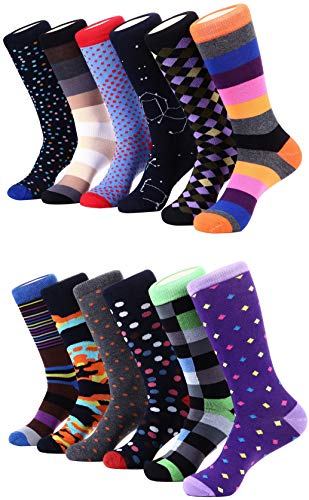 Marino Men's Dress Socks - Colorful Funky Socks for Men - Cotton Fashion Patterned Socks - 12 Pack (Fun Collection, 10-13) ()