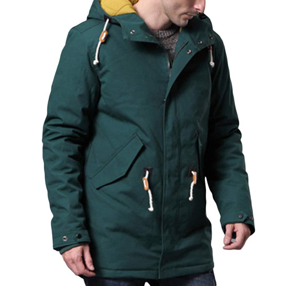 Allthemen Manteau Homme Hiver Long Trench-Coat Chaud Capuchon Parka Casual Blouson en Coton Caban à Capuche épais Vert