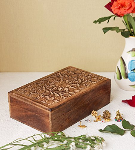 Carved Wood Trinket (Valentine Day Gifts Hand Carved Wooden Keepsake Decorative Jewelry Trinket Box Storage Organizer with Floral Patterns for Girls Women (Design 3))