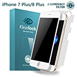 Klearlook Privacy Glass Screen Protector for 5.5-Inch iPhone 7 Plus/iPhone 8 Plus, Case Friendly Anti-Peeping/Anti-Spy Tempered Glass Screen Cover for Front+Carbon Fibre Back Sticker (White) (2.5D)