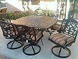 Theworldofpatio Mandalay Cast Aluminum Powder Coated 9pc Outdoor Patio Set with 64″x64″ Square Table – Antique Bronze