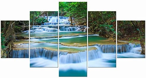 B019MQFXG8 Wieco Art Peaceful Waterfall 5 Panels Large Canvas Paintings Wall Art Modern Gallery Wrapped Landscape Forest Giclee Canvas Print Artwork Photo Pictures for Living Room Bedroom Home Decorations L 516x2BOhgYyL