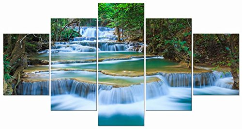 Wieco Art - Large Peaceful Waterfall 5 Panels Modern Gallery Wrapped Giclee Canvas Print Artwork Landscape Pictures Photo Paintings on Canvas Wall Art for Living Room Bedroom Home Decorations L