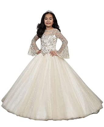 14cba7b48 Amazon.com  HuaMei Pageant Dresses for Little Girls Long Sleeves ...