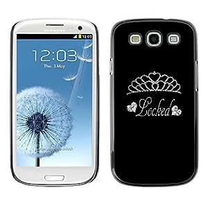 Caucho caso de Shell duro de la cubierta de accesorios de protección BY RAYDREAMMM - Samsung Galaxy S3 I9300 - Tiara Diamond Locked Silver Glitter