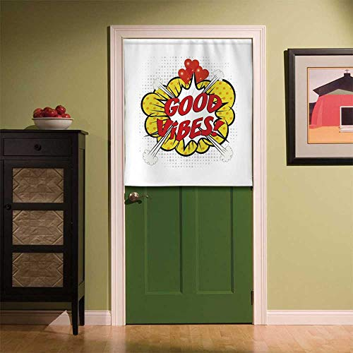 667 Hipster - YOLIYANA Good Vibes Wear Resisting Door Curtain,Pop Art Comics Icon Blast Explosion Retro Quote Red Hearts Hipster Cartoon Decorative for Bedroom Living Room Kitchen Bathroom,33.46''W x 35.43''H
