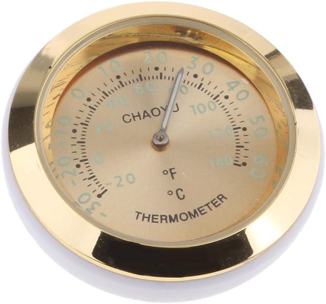 um 360 Grad gedreht 38x38x15 mm perfk Mini Auto Thermometer Temperaturanzeige aus Legierung Gold