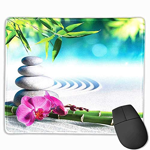 (Yanteng Mouse Pads Spa Decor Comfortable Mousepad Sand Orchid and Massage Stones in Zen Garden Sunny Day Meditation Custom Mouse pad 11.8