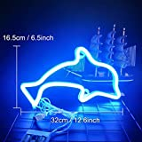 XIYUNTE Dolphin Light Blue Neon Light Sign Wall
