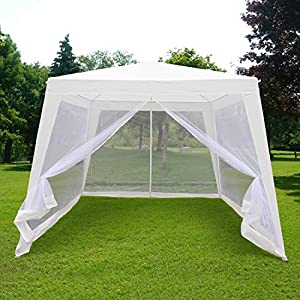 Quictent 10'x10'/7.9'x7.9' Outdoor Trapezoid Canopy Party tent Gazebo Screen House Sun Shade Shelter with Fully Enclosed Mesh Side Wall