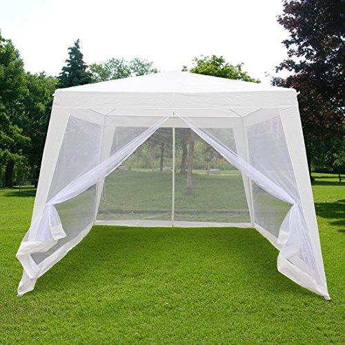 Quictent 10'x10'/7.9'x7.9' Outdoor Trapezoid Canopy Party Tent Gazebo Screen House Sun Shade Shelter with Fully Enclosed Mesh Side ()