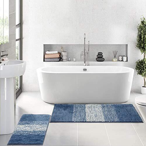 HEBE Luxury Soft Bathroom Rugs Set of 2, Non Slip Washable Plush Bath Floor Mats, Microfiber Shaggy Absorbent Striped…