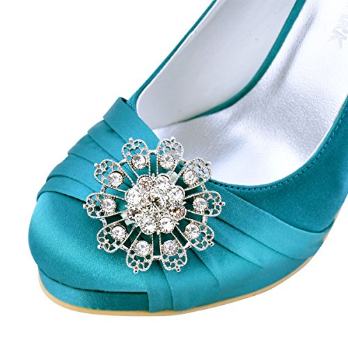 PF Teal Mujeres Elegantpark Wedding Bombas Zapatos Novia Party Punta Satén Cerrada Alto Tacón Plataforma Zapatos EP2015 Zapatos Rhinestones TqEEgrx5