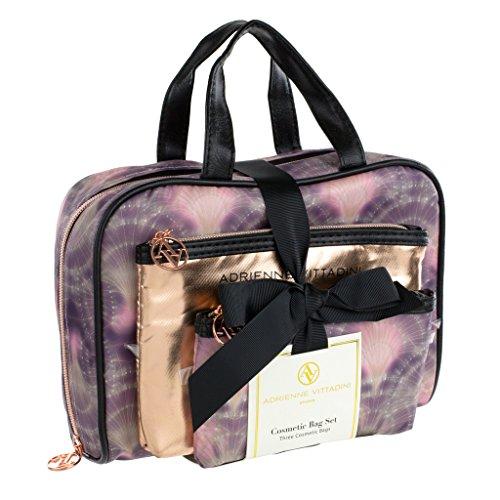 adrienne-vittadini-set-of-3-satchel-cosmetic-cases-black-and-purple-mermaid