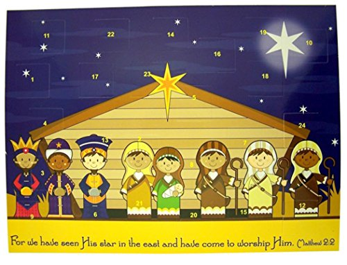 Childrens Stable Nativity Cardstock Advent Calendar with Die Cut Pull Tabs, 10 Inch (1)]()