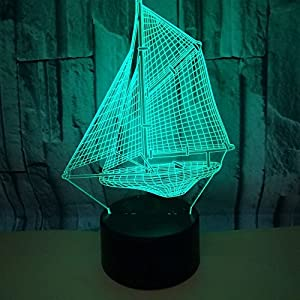 Optical Illusion 3D Sailboat Night Light 7 Colors Changing USB Power Touch Switch Decor Lamp LED Table Desk Lamp Brithday Children Kids Christmas Xmas Gift