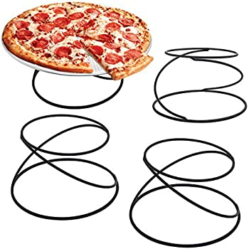 MyGift Set of 4 Metal Spiral Wire Tabletop Pizza Tray Stands, Black