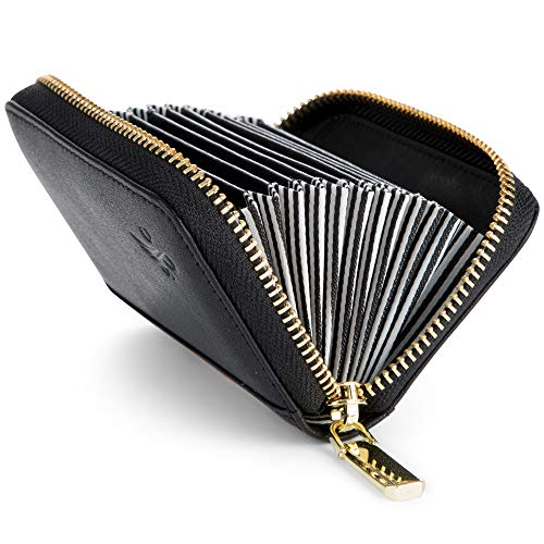 Wallets For Women, RFID Blocking Protection, Genuine Leather, Cute and Compact - Ladies Minimalist Wallet with Zipper, Multiple Compartments for Cards, Money-Fits Back Pocket (Black with pin stripped) (Wallet Fold Bi Striped)