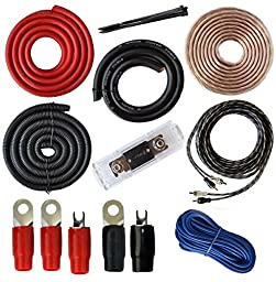 Absolute USA 0 Gauge Amp Kit Amplifier Install Wiring Complete 0 Ga Installation Cables 4000W