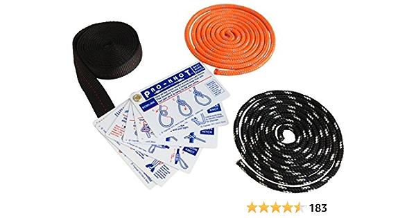 SGT KNOTS Kit de atar – (17) tarjetas de instrucciones impermeables, (2) cuerdas de doble trenzado de 1,8 m, (1) correas de nailon de 1,8 m