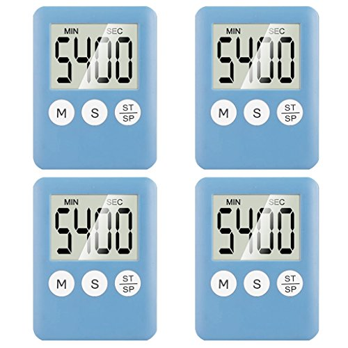 4 Pack Digital Kitchen Timer Magnetic Countdown Up Simple Op