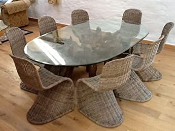 Large Oval Wooden Teak Root Dining Table With Glass Top 180cm X 120cm