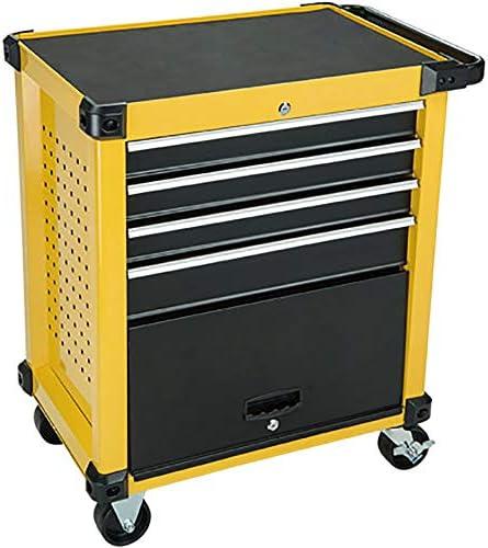工具入れカート 引き出しツールボックス多機能トロリー付き引き出しハードウェアモバイル修復ツールカート 工具カート キャビネット (色 : Yellow, Size : 87x51x78cm)