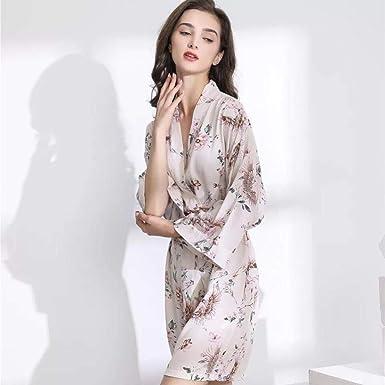 2020 Nueva lencería Sexy algodón Kimono Bata Bata de baño Mujer Estampado de Flores Batas Satinado Bata Damas Batas Ropa de Dormir tamaño Grande: Amazon.es: Ropa y accesorios