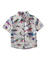 Occitop Fish Print T-Shirts Baby Boys Kids Polo Collar Button Short Sleeve Tee Tops