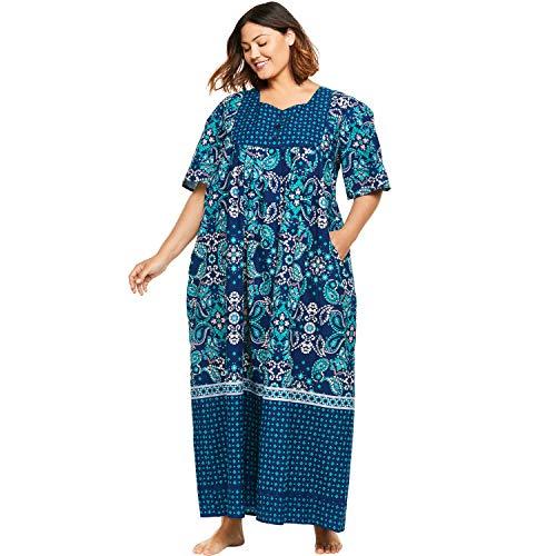 Blue Lounger - Only Necessities Women's Plus Size Mixed Print Long Lounger - Evening Blue Foulard, 6X
