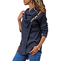 LOSRLY Women Cowl Neck Wrap Front Cabel Kintted Pullover Sweater Coat Long Sleeve Sweatshirts Outwear